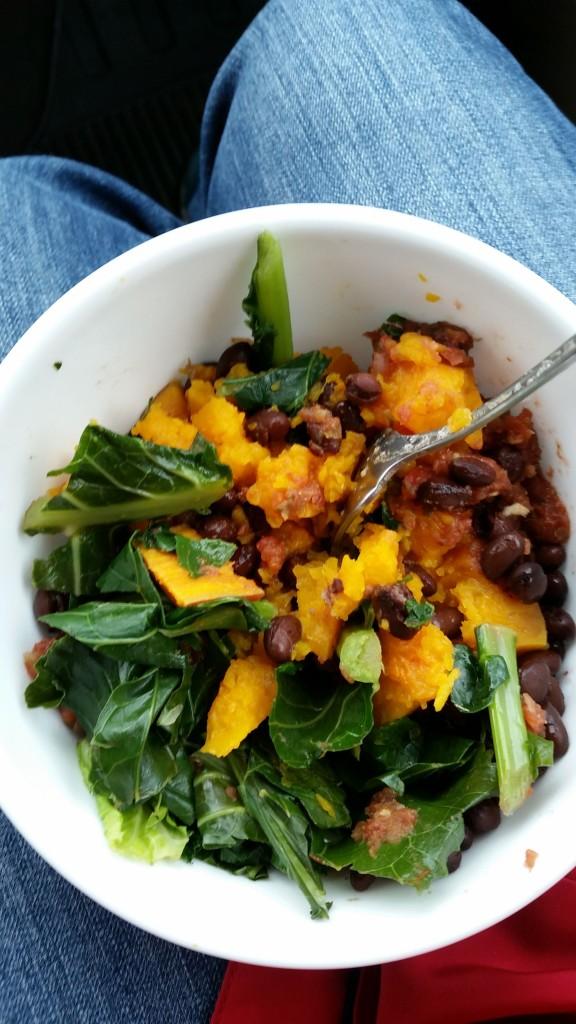 Kale Yams Squash Beans Salsa Yum